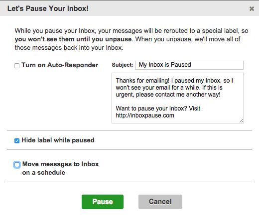 Dialogboksen der vises, når du anvender Inbox Pause